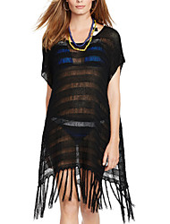 Women's Loose Hollow Out Knit Tassels Cover-Ups , Cotton