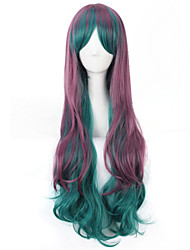 Fashion Ladies Green To Purple Color Cosplay Party Long Curly Wavy Synthetic Wigs