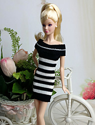 Casual Dresses For Barbie Doll White / Black Dresses For Girl's Doll Toy