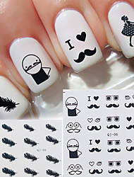 Fashion Feather/Lace/Beard Water Transfer Sticker Nail Art Decals Nails Wraps Watermark Nail Tools