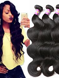 """3 unidades / lote 8 """"-30"""" cabelo humano virgem 7a brasileiros extensões de cabelo de onda corpo 100% virgem não transformados tece"""