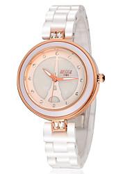 Женские Модные часы Кварцевый Защита от влаги Керамика Группа Белый бренд-