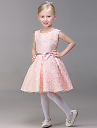 A-line Short / Mini Flower Girl Dress - Lace Sleeveless Jewel with