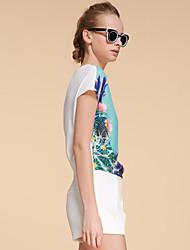 Goelia® Femme Col Arrondi Manche Courtes T-shirt Bleu / Blanc-146C0B090