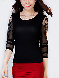 Women's Patchwork Pink / Red / Black / Gray Blouse,Plus Size/ Casual Lace Cut Out Mesh Embroidery Fashion Slim Nylon