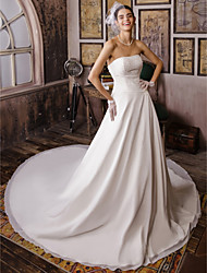 Ball Gown Strapless Cathedral Train Chiffon Wedding Dress with Beading by LAN TING BRIDE®
