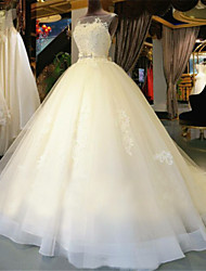 Ball Gown Wedding Dress See-Through Chapel Train Scoop Tulle with Appliques Beading Sash / Ribbon Bow