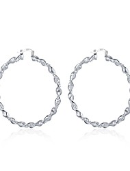 Hot Torsion Circle Ms. Ear Clip Round Hoop Earrings Cute Silver Plated Women Girls
