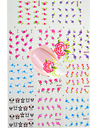11pcs  Hot  Water Transfer Colorful Flower Nail Art Stickers  Nail Beauty BLE001-011