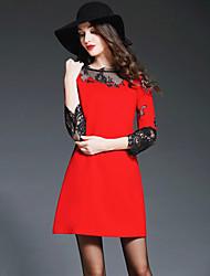 Mulheres Vestido Bainha Moda de Rua Patchwork Mini Decote Redondo Poliéster