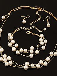 Bijoux 1 Collier / 1 Paire de Boucles d'Oreille / 1 Bracelet Ajustable Mariage / Soirée Alliage / Imitation de perle 1set / 4pcs Femme
