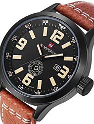 NAVIFORCE Men's Military Watch Calendar Quartz Japanese Quartz Leather Band Cool Luxury Black Brown