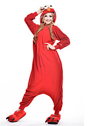 Kigurumi Pajamas New Cosplay® / Cartoon / Monster Leotard/Onesie Festival/Holiday Animal Sleepwear Halloween Red Patchwork Polar Fleece