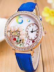 L.WEST Ladies' 3D Pearl Peacock Diamonds Denim Silicone Quartz Watch Cool Watches Unique Watches