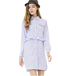 Women's Casual/Daily Simple Shirt Dress,Striped Shirt Collar Above Knee Long Sleeve Blue Polyester Spring