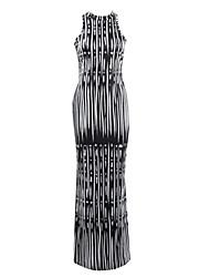 Damen Kleid-Hülle Sexy / Retro Druck Maxi Polyester Rollkragen