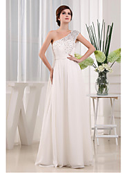 Formal Evening Dress A-line One Shoulder Floor-length Chiffon / Lace with Beading / Draping / Lace