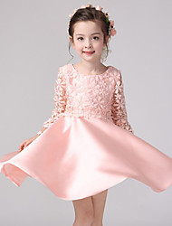 Ball Gown Knee-length Flower Girl Dress - Lace / Satin Long Sleeve Jewel with