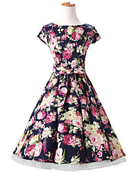 50s Era Vintage Style Cap Sleeves Rockabilly Dress Cosplay Costume Navy Blue Floral (with Petticoat)