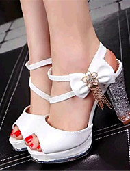 Women's Shoes Leatherette Platform Heels Sandals Party & Evening White / Gold