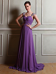 Floor-length Chiffon Bridesmaid Dress Sheath/Column Straps