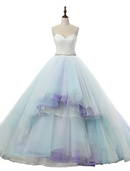A-line Wedding Dress Wedding Dress in Color Court Train Sweetheart Tulle with Appliques Lace Sash / Ribbon