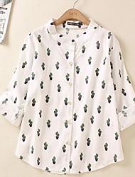 De las mujeres Camisa-Botón Escote Chino-Algodón / Lino-Manga Larga