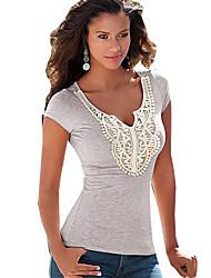 Damen Solide Retro / Street Schick Lässig/Alltäglich T-shirt,V-Ausschnitt Sommer Kurzarm Grau Baumwolle Dünn