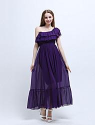 Women's Beach Boho Chiffon Dress,Solid One Shoulder Maxi Short Sleeve Purple Polyester Summer