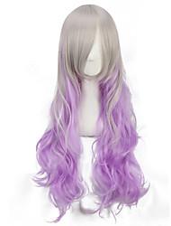venta caliente blanco largo y rizado de color púrpura para pelucas cosplay baratos para las mujeres