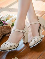 Women's Shoes Heel Heels / Round Toe Sandals / Heels Outdoor / Dress / Casual Blue / Pink / Beige/F-10