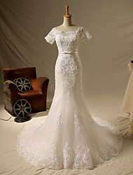 Trumpet / Mermaid Wedding Dress Chapel Train Square Lace / Satin / Tulle with Appliques / Beading / Pearl / Sash / Ribbon / Sequin