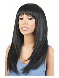 Long Length Straight Hair European Weave Black Color Hair Synthetic Wig