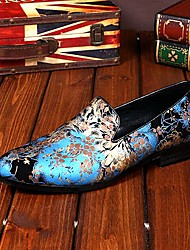 Sapatos Masculinos Mocassins Azul / Rosa Couro Casamento / Festas & Noite