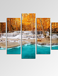 VISUAL STAR®Autumn Forest Canvas Art Home Decor Dreamlike Waterfall Print Art Ready to Hang