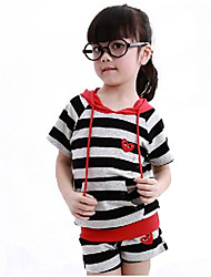 Girl's  Cotton Summer New Tide Korean Stripes Short Sleeve Sport Clothes Set