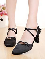 Chaussures de danse(Noir Marron) -Personnalisables-Talon Personnalisé-Satin-Moderne