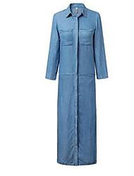 Women's Casual/Daily Street chic Shift Dress,Solid Shirt Collar Maxi Long Sleeve Blue Cotton Winter