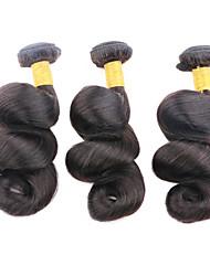 "1pcs preço barato / lot 50g 8 ""-26"" cabelo onda solta virgem brasileira tramas preto natural 1b # do cabelo humano feixes"