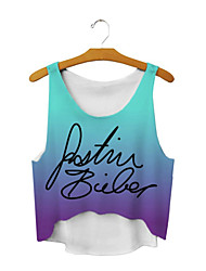 ALL BLUE High Quality Women Personality Irregular 3D Printed Sleeveless Vest Cute T-Shirts - Gradient Of Purple Letter