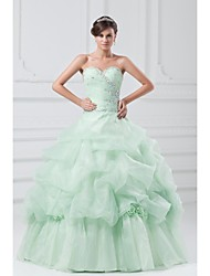 Ball Gown Wedding Dress-Sage Floor-length Strapless Organza