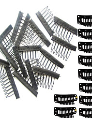 10Pcs Comb Clips and 10 Snap Clips For Wig Caps Convenient For Wig and Ponytail Hair Extensions Making