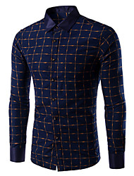 Men's Long Sleeve Shirt,Cotton Casual / Work Print
