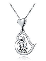 Women's Fashion Elegant Platinum Plated Set Auger Love Pendant Necklace