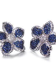 Blue Montana Cubic Zirconia Women Flower Stud Earrings Micro Pave Setting Bridal Fashion Jewelry Earrings