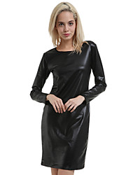 Women's Sexy Bodycon Cute Plus Sizes Micro Elastic Long Sleeve Knee-length Dress (Leather)