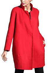 Women's Solid Red Coat,Simple Long Sleeve Cotton