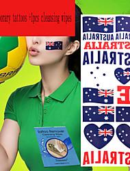 5Pcs Australia  National Flag  Temporary Tattoos +1Pcs Cleansing Wipes