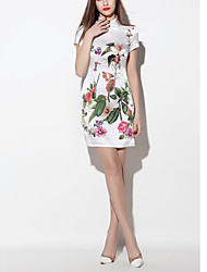 Women's Going out Vintage Sheath Dress,Jacquard Stand Above Knee Short Sleeve White Silk Spring