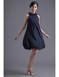 Short/Mini Chiffon Bridesmaid Dress-Black A-line Jewel
